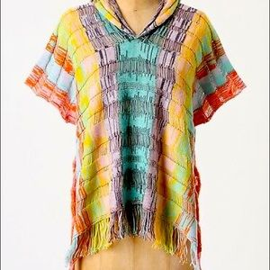Anthropologie Sparrow Rainbow Knit Hooded Poncho